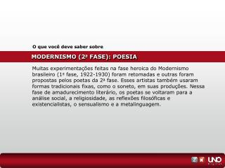 MODERNISMO (2 a  FASE): POESIA