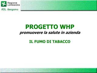 PROGETTO WHP promuovere la salute in azienda IL FUMO DI TABACCO