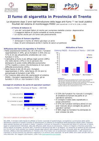 Il fumo di sigaretta in Provincia di Trento