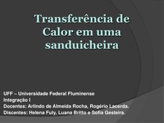 UFF – Universidade Federal Fluminense Integração I