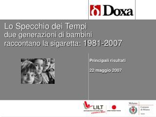 Lo Specchio dei Tempi due generazioni di bambini  raccontano la sigaretta:  1981-2007