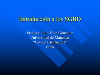 Introducción a los SGBD