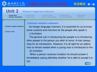 Section One: Cultural  Information