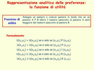 Formalmente U(x 1 ,y 1 ) > U(x 2 ,y 2 ) se e solo se (x 1 ,y 1 ) P (x 2 ,y 2 )