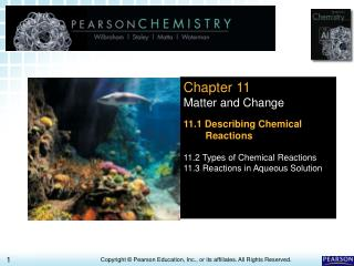 Chapter 11 Matter and Change 11.1 Describing Chemical Reactions 11.2 Types of Chemical Reactions