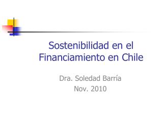 Sostenibilidad en el Financiamiento en Chile