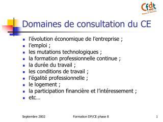 Domaines de consultation du CE