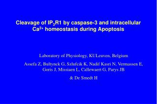 Cleavage of IP 3 R1 by caspase-3 and intracellular Ca 2+  homeostasis during Apoptosis