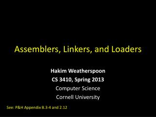 Assemblers, Linkers, and Loaders