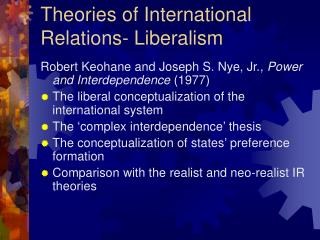 Theories of International Relations- Liberalism