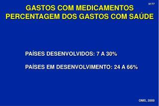 GASTOS COM MEDICAMENTOS PERCENTAGEM DOS GASTOS COM SAÚDE