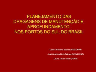 PLANEJAMENTO DAS DRAGAGENS DE MANUTEN��O E  APROFUNDAMENTO  NOS PORTOS DO SUL DO BRASIL