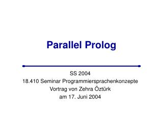 Parallel Prolog