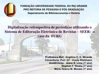 Professora MsC. Angélica C. D. Miranda Consultoria: Prof. Drª. Ursula Blattmann