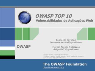 OWASP TOP 10  Vulnerabilidades de Aplicações Web