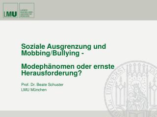 Soziale Ausgrenzung und Mobbing