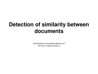 Detection of similarity between documents