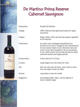 De Martino Prima Reserve Cabernet Sauvignon