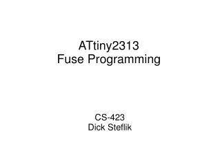 ATtiny2313 Fuse Programming
