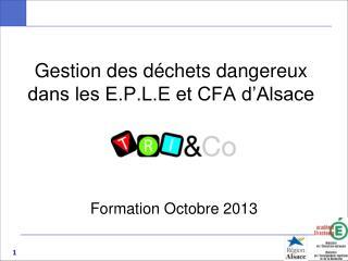 Gestion des déchets dangereux  dans les E.P.L.E et CFA d'Alsace