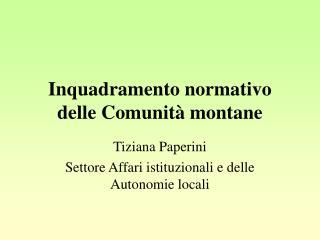 Inquadramento normativo delle Comunità montane