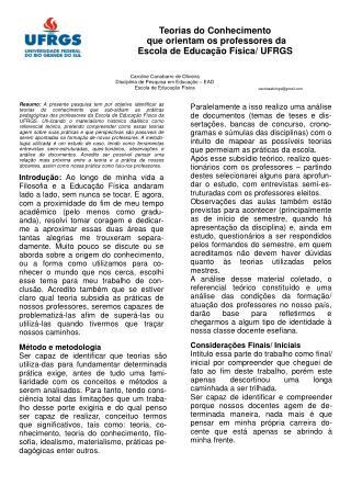 Teorias do Conhecimento  que orientam os professores da  Escola de Educação Física/ UFRGS
