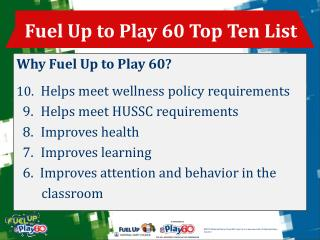 Fuel Up to Play 60 Top Ten List