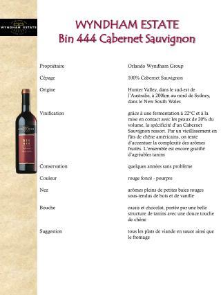 WYNDHAM ESTATE Bin 444 Cabernet Sauvignon