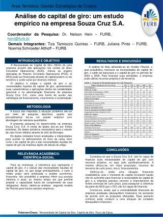 Análise do capital de giro: um estudo empírico na empresa Souza Cruz S.A.