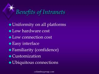 Benefits of Intranets
