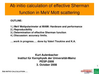 Ab initio calculation of effective Sherman function in MeV Mott scattering