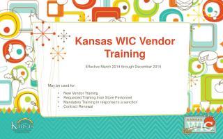 Kansas WIC Vendor Training