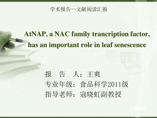 AtNAP, a NAC family trancription factor, has an important role in leaf senescence