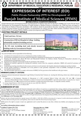 PUNJAB INFRASTRUCTURE DEVELOPMENT BOARD  & DEPARTMENT OF MEDICAL EDUCATION & RESEARCH, PUNJAB