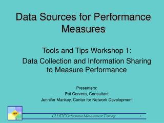 Data Sources for Performance Measures