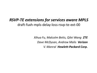 RSVP-TE extensions for services aware MPLS draft-fuxh-mpls-delay-loss-rsvp-te-ext-00