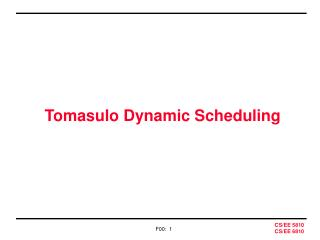 Tomasulo Dynamic Scheduling