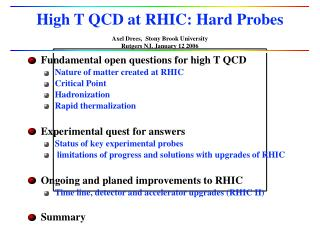 High T QCD at RHIC: Hard Probes