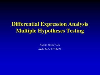 Differential Expression Analysis Multiple Hypotheses Testing