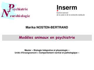 Modèles animaux en psychiatrie