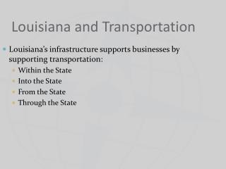 Louisiana and Transportation