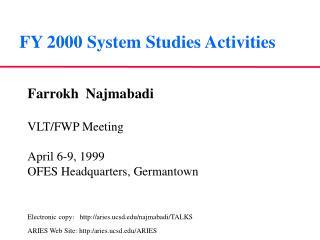 FY 2000 System Studies Activities