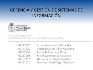 GERENCIA Y GESTIÓN DE SISTEMAS DE INFORMACIÓN