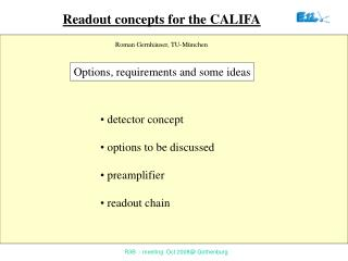 Readout concepts for the  CALIFA