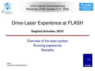 Drive-Laser Experience at FLASH
