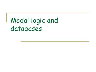 Modal logic and databases