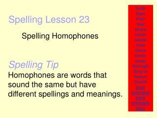 Spelling Lesson 23
