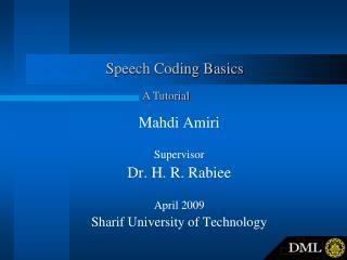 Speech Coding Basics