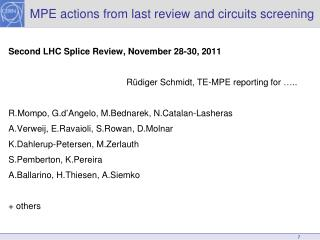 MPE actions from last review and circuits screening