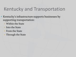 Kentucky and Transportation